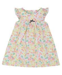 Colorfly Cap Sleeves Frock Floral Print - White