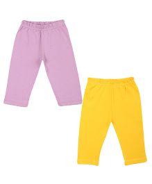 Colorfly Soft Cotton Leggings Pack Of 2 - Purple Yellow