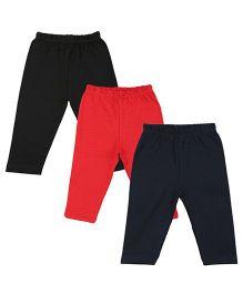 Colorfly Full Length Solid Color Leggings Pack Of 3 - Black Dark Blue Red