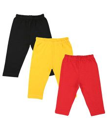 Colorfly Full Length Solid Color Leggings Pack Of 3 - Black Red Yellow