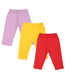 Colorfly Full Length Solid Color Leggings Pack Of 3 - Purple Yellow Red