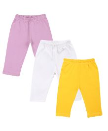 Colorfly Full Length Solid Color Leggings Pack Of 3 - Purple White Yellow