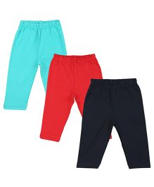 Colorfly Full Length Solid Color Leggings Pack Of 3 - Sea Green Red Dark Blue