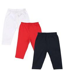 Colorfly Full Length Solid Color Leggings Pack Of 3 - White Red Dark Blue