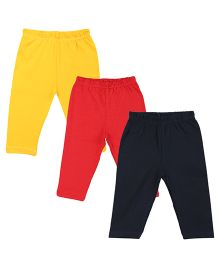 Colorfly Full Length Solid Color Leggings Pack Of 3 - Yellow Red Dark Blue