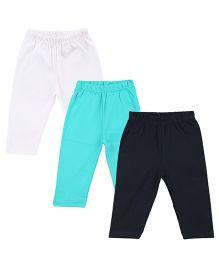 Colorfly Full Length Solid Color Leggings Pack Of 3 - White Sea Green Dark Blue