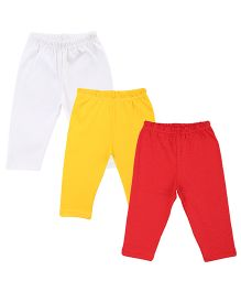 Colorfly Length Solid Color Leggings Pack Of 3 - White Yellow Red