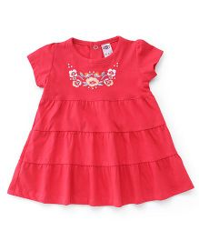 Zero Short Sleeves Frock Floral Embroidery - Red