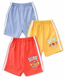 Zero Shorts Surf Print Pack Of 3 - Blue Yellow Red