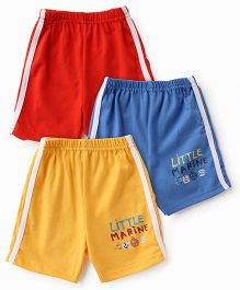 Zero Shorts Little Marine Print Pack Of 3 - Red Blue Yellow