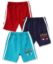 Zero Shorts Little Marine Print Pack Of 3 - Red Blue Navy
