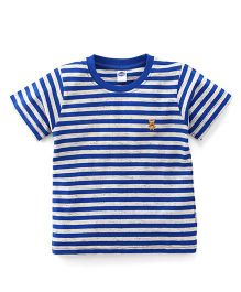 Teddy Half Sleeves T-Shirt Stripes Print - Blue
