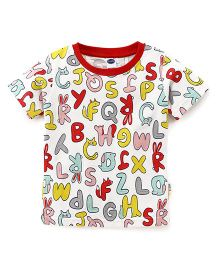 Teddy Half Sleeves Tee Alphabet Print - White Multicolor