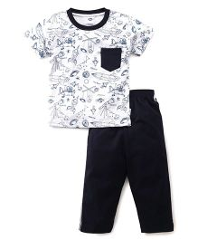 Teddy Half Sleeves Night Suit Printed - Black And White