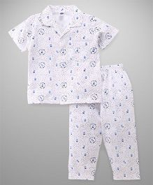 Teddy Half Sleeves Night Suit Bear Print - White