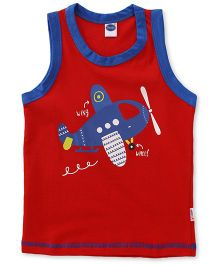 Teddy Sleeveless Vest Printed - Red