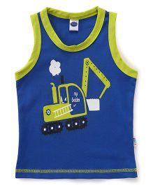 Teddy Sleeveless Vest Printed - Blue