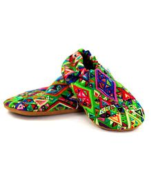 Skips Electric Geometric Jootie Booties - Green & Multicolor
