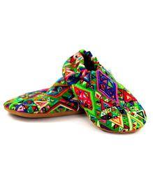 Skips Electric Geometric Jootie Booties - Green & Multicolor