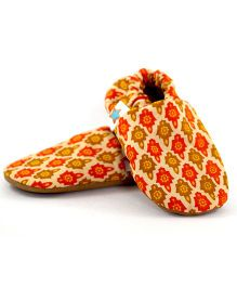Skips Little Lights Jootie Booties - Orange And Beige