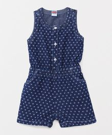 Babyhug Sleeveless Jumpsuit Hearts Print - Blue