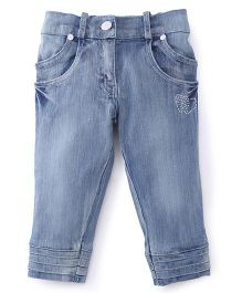 Olio Kids Full Length Jeans Studded Detailing - Light Blue