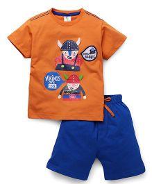 Cucumber Half Sleeves Printed T-Shirt And Shorts Set - Orange & Blue