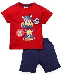 Cucumber Half Sleeves Printed T-Shirt And Shorts Set - Red & Navy