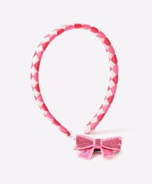 Needybee Ribbon Woven Hairband & Sequin Bow Clip - Pink