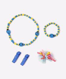 Needybee Pack Of 5 Beetle Beaded Necklace & Bracelet Set With Korker Bow Clips - Multicolor