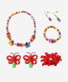 Needybee Pack Of 5 Beaded Necklace With Bracelet & Butterfly Hair Clips - Multicolor
