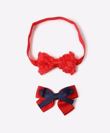 Needybee Set Of Bow Design Tic Tac Hair Clip With Hair Band - Red