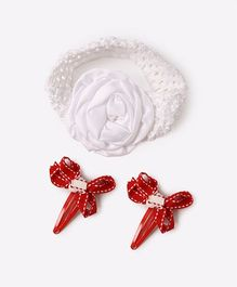 Needybee Set Of Bow Design Hair Clip & Bow Hair Band - Red & White