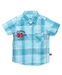 Bodycare Half Sleeves Checks Shirt Number 95 Patch - Aqua Blue