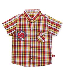 Bodycare Half Sleeves Checks Shirt Number 95 Patch - Red Yellow