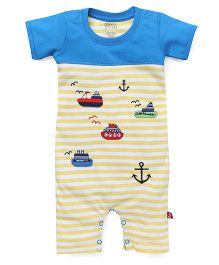 Bodycare Striped Romper Ship And Anchor Embroidery - Yellow Blue