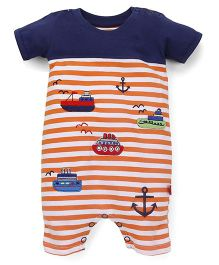 Bodycare Striped Romper Ship And Anchor Embroidery - Navy & Orange