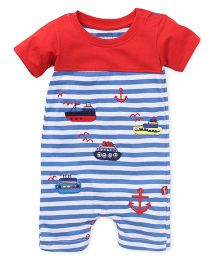 Bodycare Striped Romper Ship And Anchor Embroidery - Red & Blue