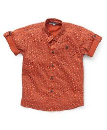 Jash Kids Half Sleeves Printed Shirt With Pocket - Orange