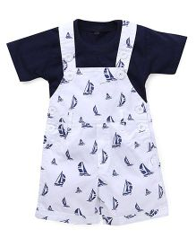 Jash Kids Dungaree With Inner Tee Allover Boat Print - White  & Navy Blue
