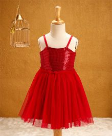 Babyhug Singlet Sequin Party Wear Frock - Red