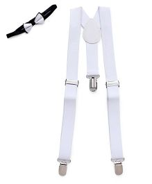 Kid O Nation Plain Suspenders With Bow Tie - White & Black