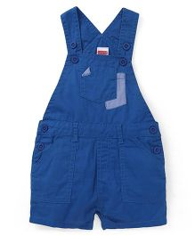 Babyhug Sleeveless Dungaree With Patch Pockets - Blue