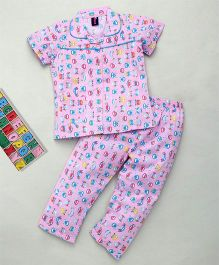 Enfance Core Half Sleeves Car Print Night Suit - Pink & Blue
