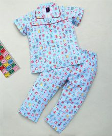 Enfance Core Half Sleeves Car Print Night Suit - Blue & Red