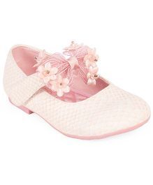 Doink Floral Bow Design Partywear Shoes - Pink