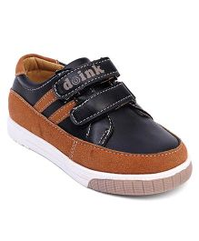 Doink Casual Shoes With Double Velcro Closure - Brown & Black