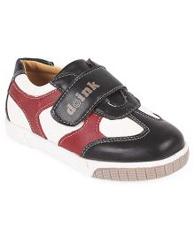 Doink Casual Shoes With Velcro Closure - Black & Red