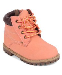 Doink Partywear Boot Shoes With Lace Tie-Up - Peach
