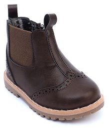 Doink Partywear Boot Shoes - Dark Coffee Brown